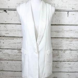 NWT Avec Les Filles White Sleeveless Blazer Sz XS